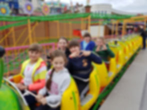 The children loving the rides at Bayside Amusements
