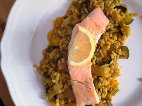 Kaszotto z batatem i łososiem (538kcal)