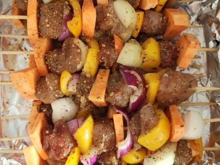 Szaszłyki drobiowe z batatem (298 kcal)