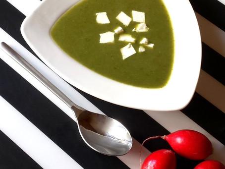 Zupa krem z liści rzodkiewek z fetą (233 kcal)