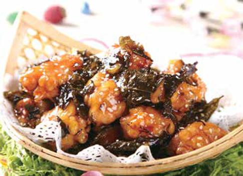 茶香鸡 Chicken Scented With Crispy Tea Leaf Coated With Sweet Glazing