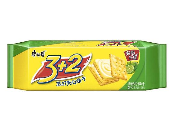 康师傅3+2苏打夹心饼干-柠檬味 125g KSF 3+2 Biscuit -Lemon Flavour