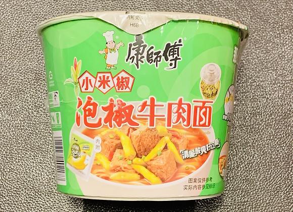 康师傅桶面-泡椒牛肉 113g KSF Instant Bowl Noodles-Pickled Chilli&Artificial Beef Flavour
