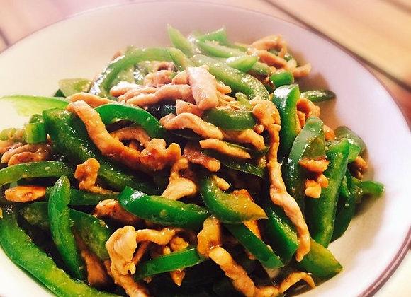 青椒肉丝 Sautéed Shredded Pork with Green Peppers
