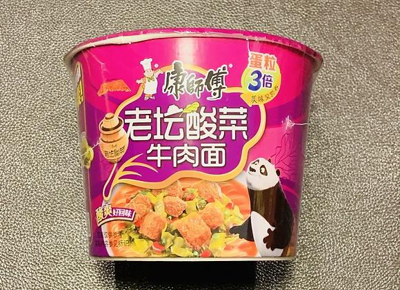康师傅桶面-老坛酸菜牛肉 113g KSF Instant Bowl Noodle-Artificial Pickled Beef Flavour