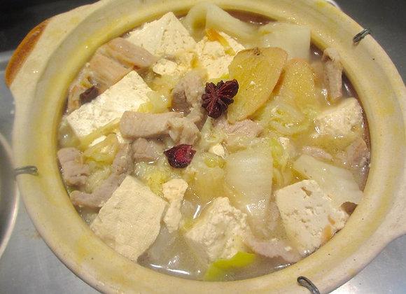 猪肉白菜炖豆腐 Chinese Leaf Boiled with Pork Slices and Bean Curd