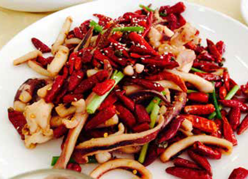 干煸鱿鱼头 Dry-fried Spicy Squid Head with Chili