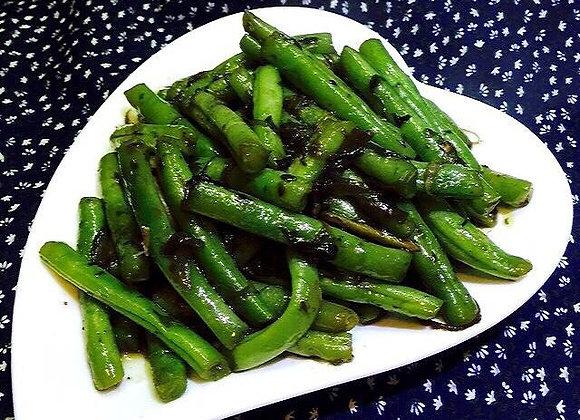 橄菜四季豆 Dry Fried Green Beans with Kale Borecole
