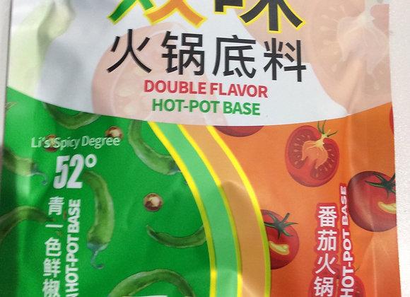 德庄双味火锅底料-52°青一色鲜椒&番茄味 300g DZ Double Flavour Hot Pot Base Pure Green 52°&Tomato