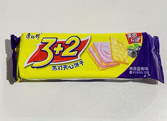 康师傅3+2苏打夹心饼干-蓝莓味 125g KSF 3+2 Biscuit -Blueberry Flavour
