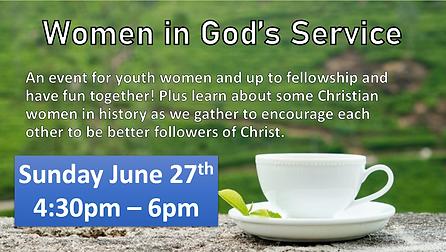 TPC Youth June 2021 Women in God's Servi