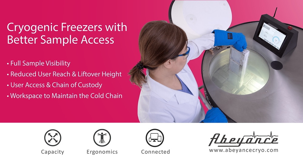 Retrieving cryopreserved samples from Abeyance cryogenic freezer. Better sample access for better cryo cold chain management.