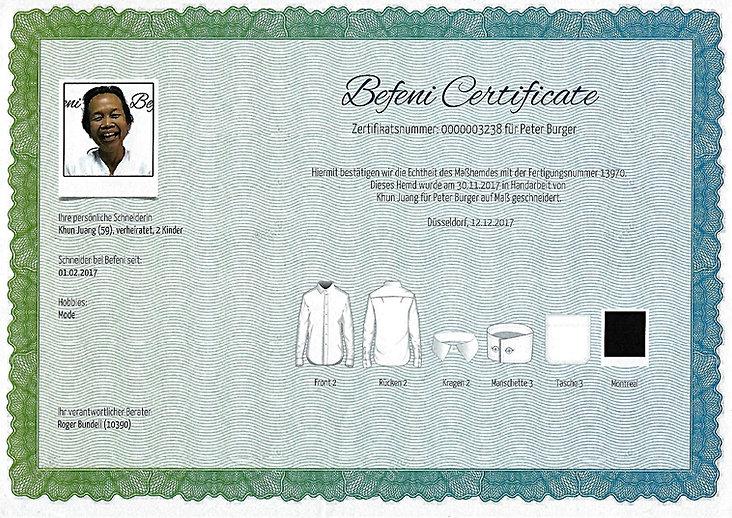 Zertifikat eines Befeni Schneiders