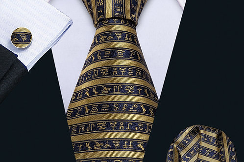 Krawatte Set mit Einstecktuch und Manschettenknöpfe
