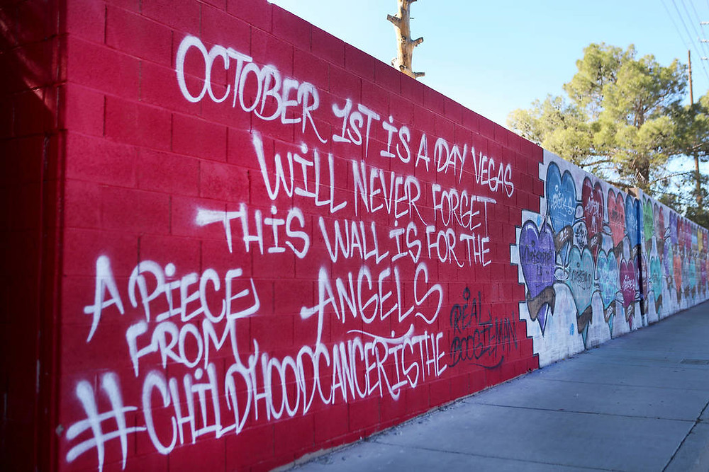 A mural in Las Vegas memorializing the 58 victims of the tragedy.