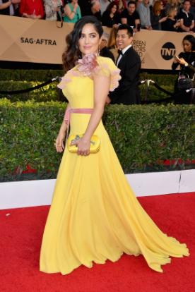 Salma Hayek in a Gucci gown