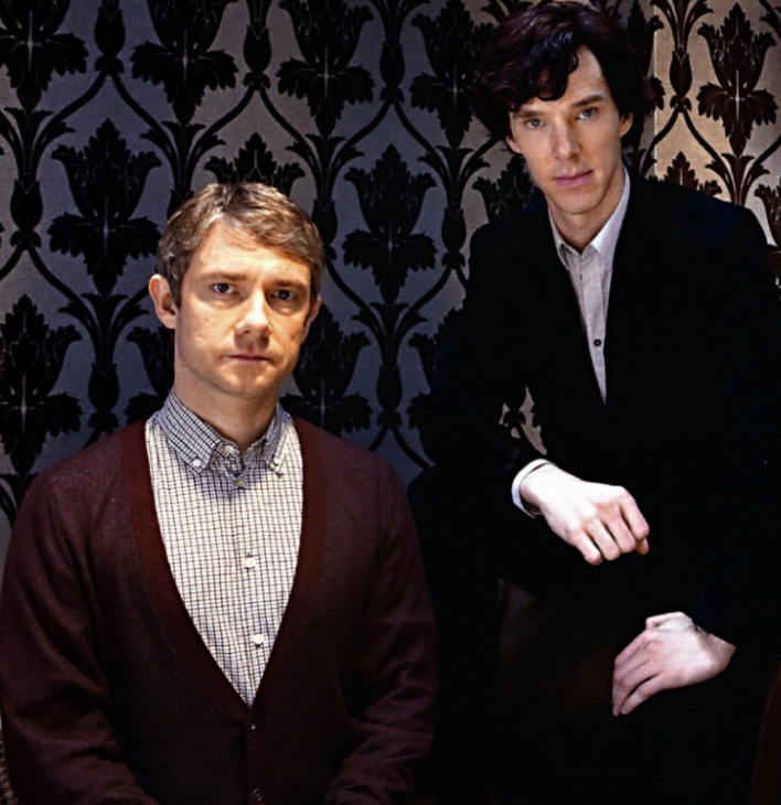 Freeman and Cumberbatch pose for a Sherlock shot.