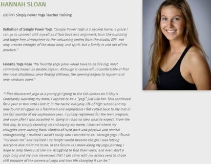 Hannah's bio on Simply Power's website.