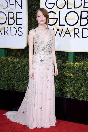 Golden Globe winner Emma Stone in a Valentino Haute Couture gown.