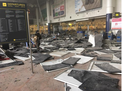 The rubble of a Belgian subway station after the explosion.