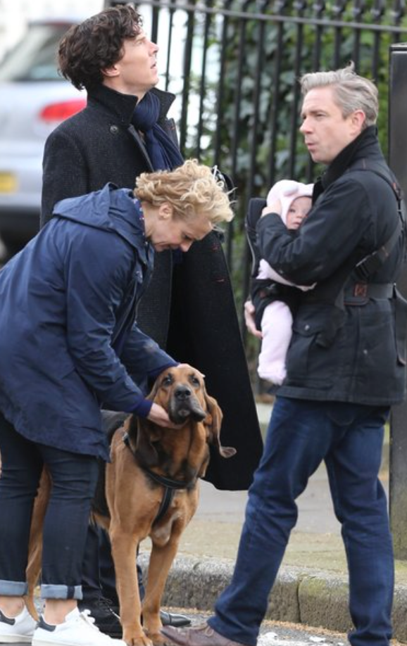 Set photo released from upcoming season 4, featuring the Watson couple with their new daughter, and Sherlock.