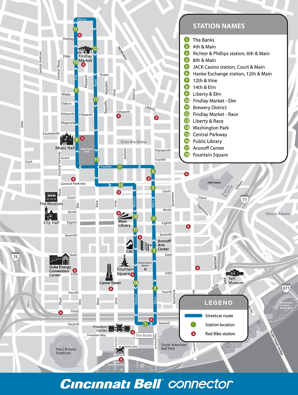 Map of street car route