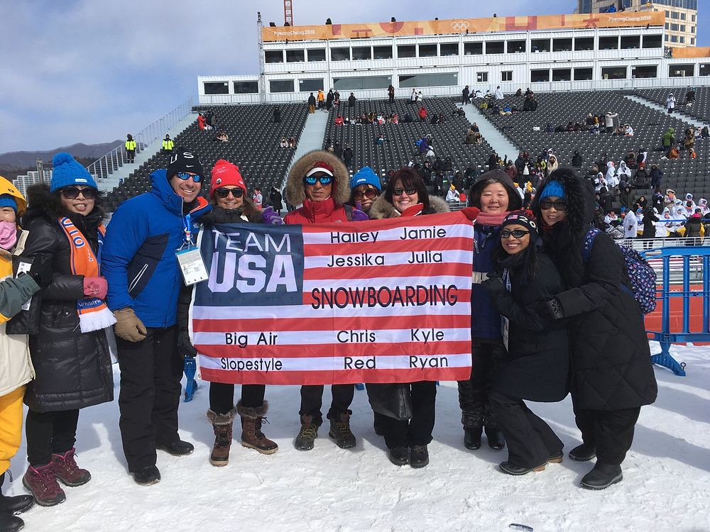 Matt Barresi stands with other Team U.S.A. supporters and Olympians families before snowboarding event in Pyeongchang, South Korea.