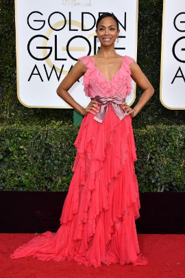 Zoe Saldana in a Gucci dress.