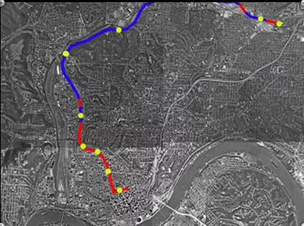 A map of the subway as of 1925. Red indicates the tunnels that were built, blue shows the intended plans, and yellow for the planned stations.