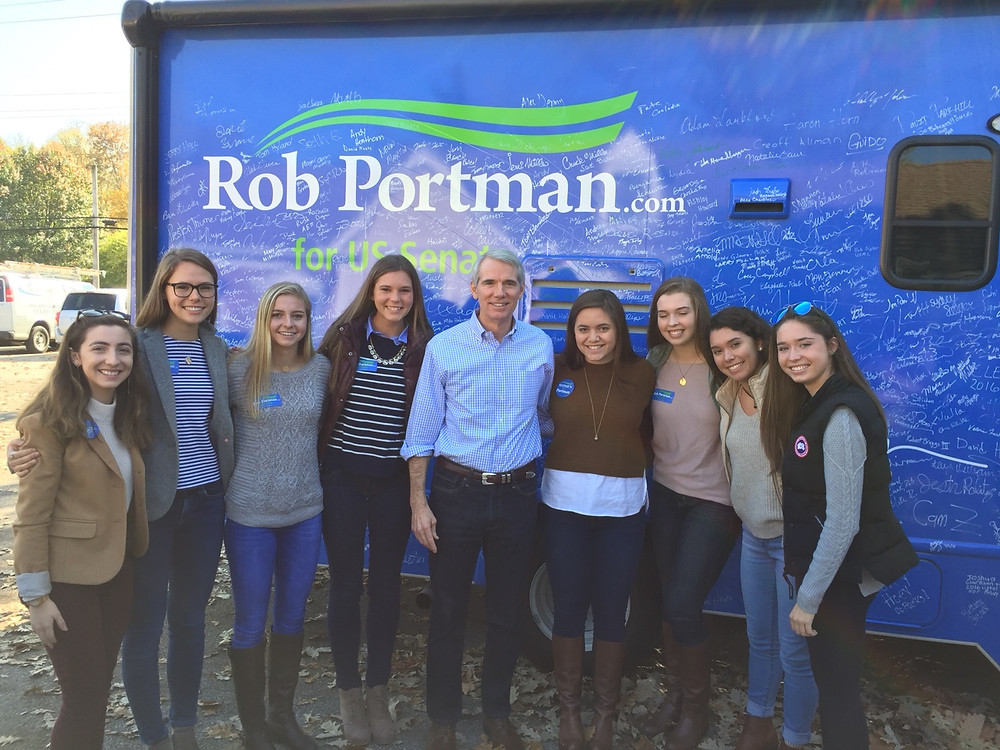 Left to right: Claire Salcido, Mary Berding, Molly O'Brien, Fiona Lawler, Senator Rob Portman, Cat Dieckman, Ellie Birrer, Lauren Pagano, Ellie Reuve.