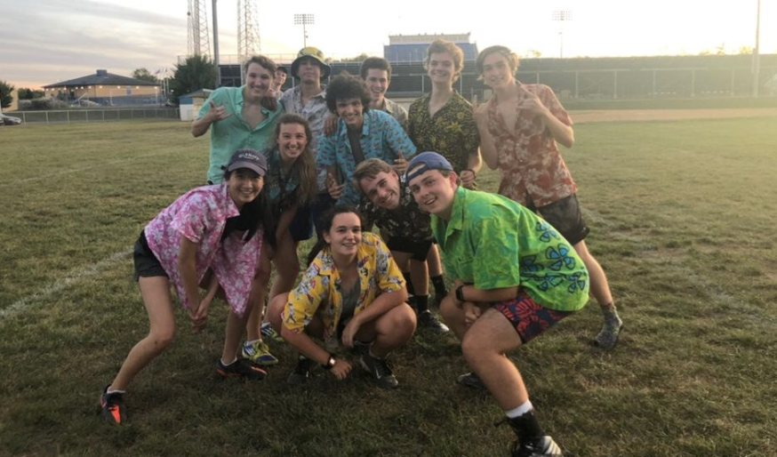 Part of the team during a tropical-themed practice