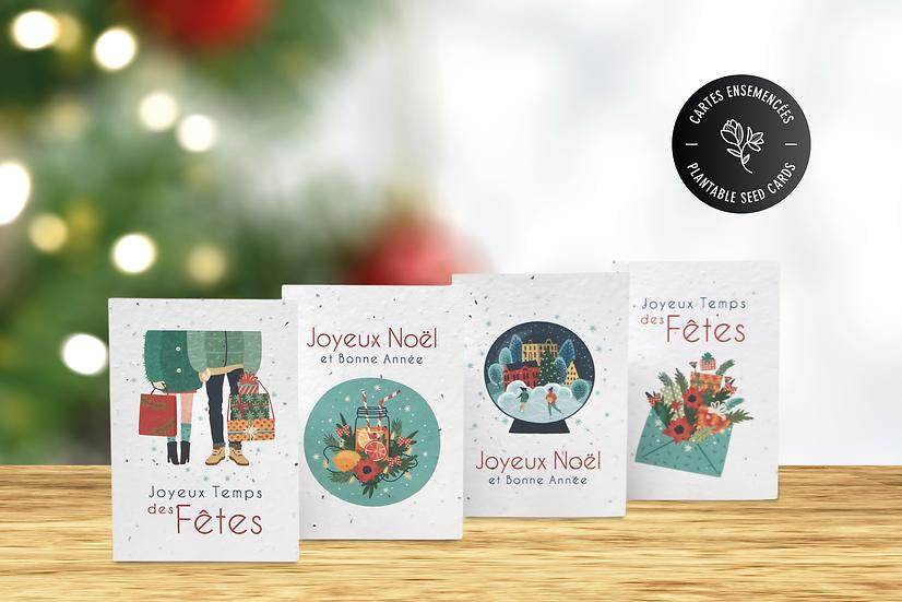 Cartes de Noël à semer | Lot de 4 cartes ensemencées