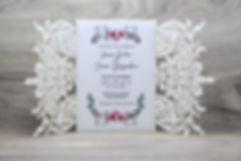 Faire-part de mariage avec pochette ciselée | Mayline confection | Montréal, Québec