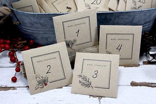 Calendrier de l'Avent   24 enveloppes en papier   Calendrier de Noël réutilisable