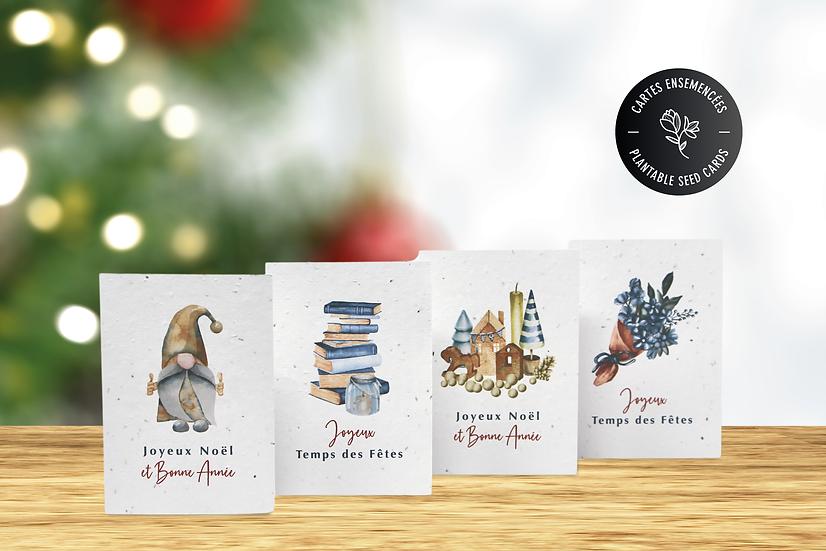 Cartes de Noël à semer   Lot de 4 cartes ensemencées