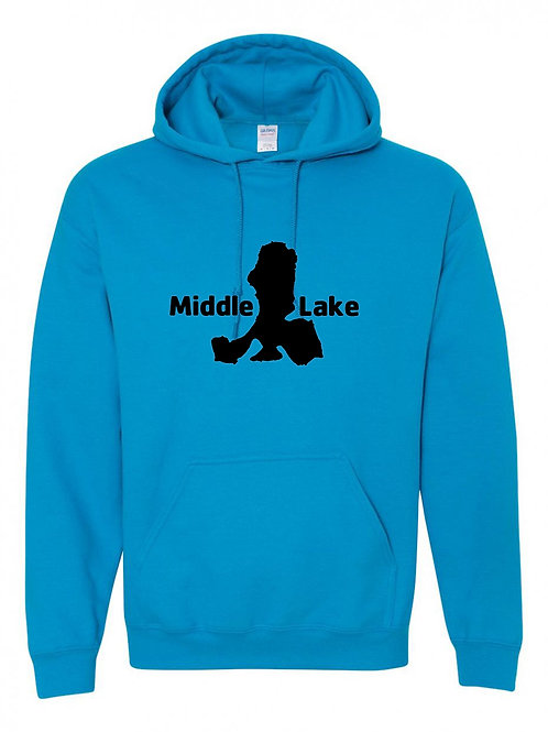 Middle Lake Black Logo Hoodie