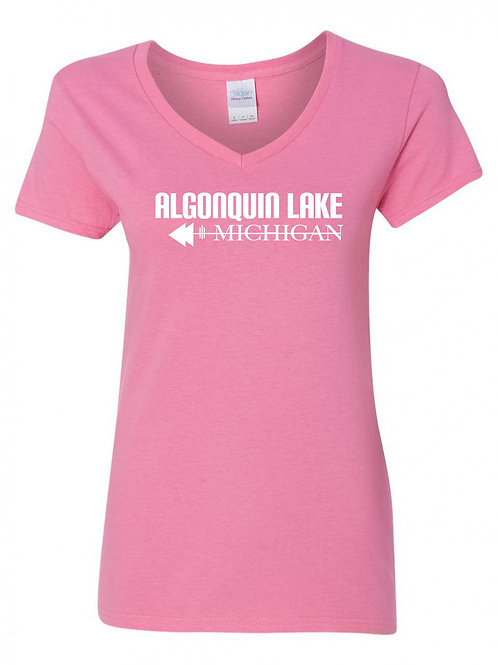 Algonquin Lake White Logo Ladies V-Neck