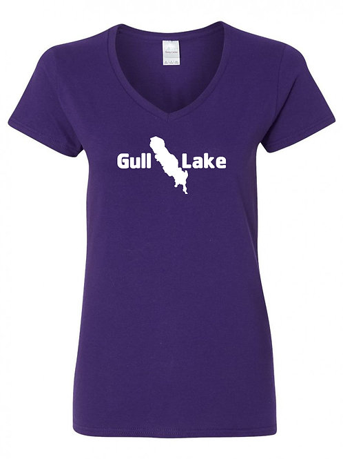 Gull Lake White Logo Ladies V-Neck