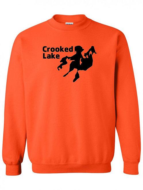 Crooked Lake Black Logo Crewneck