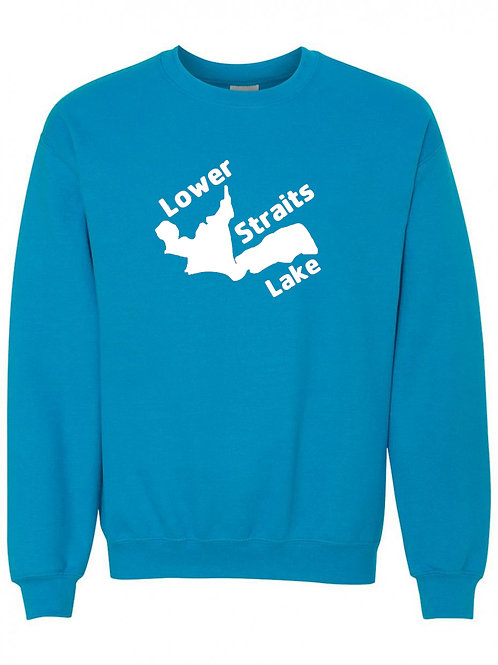Lower Straits Lake White Logo Crewneck