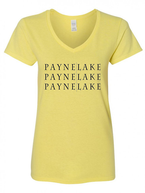 Payne Lake Black Logo Ladies V-Neck T-Shirt