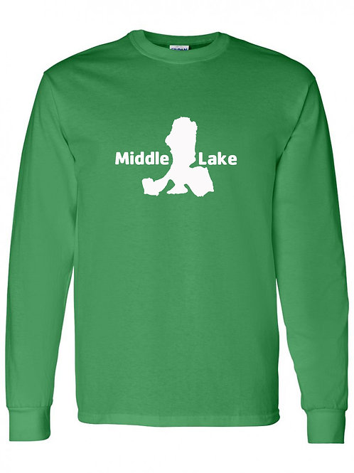 Middle Lake White Logo Long Sleeve