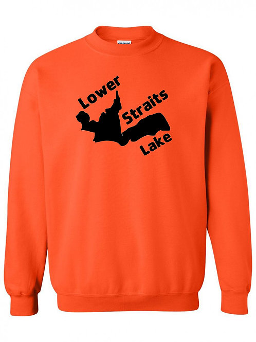 Lower Straits Lake Black Logo Crewneck