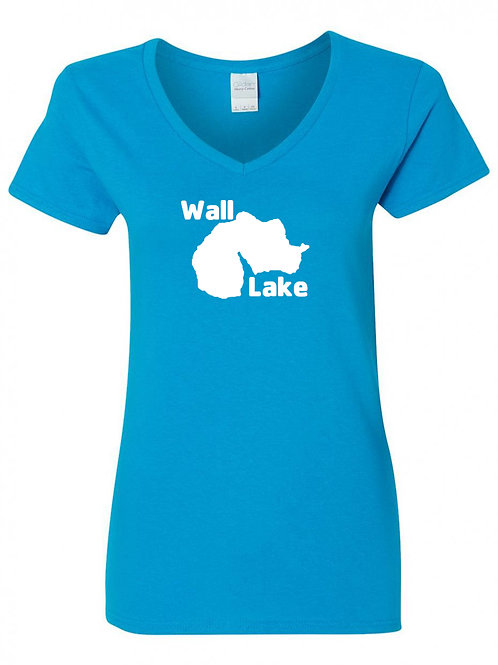 Wall Lake White Logo Ladies V-Neck