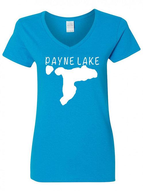 Payne Lake White Logo Ladies V-Neck T-Shirt