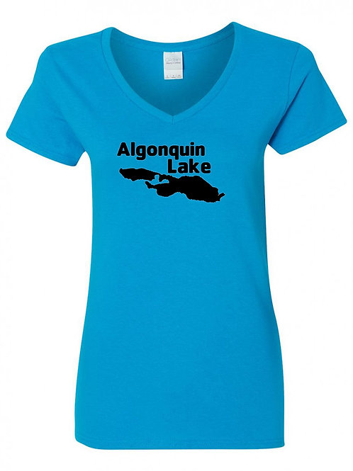 Algonquin Lake Black Logo Ladies V-Neck
