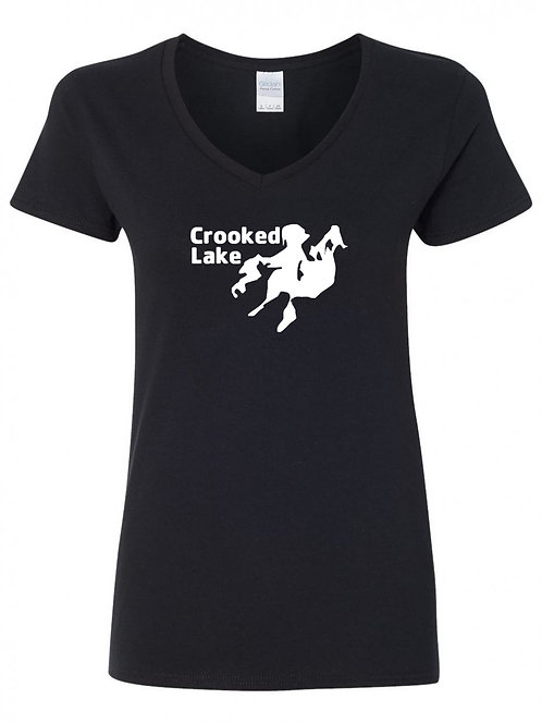 Crooked Lake White Logo Ladies V-Neck