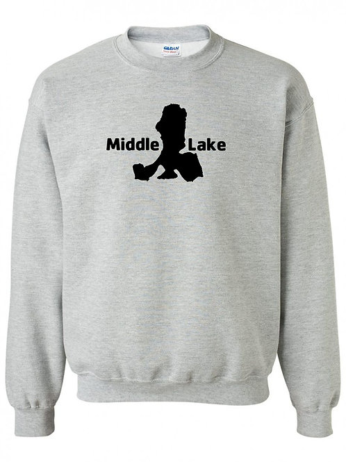 Middle Lake Black Logo Crewneck