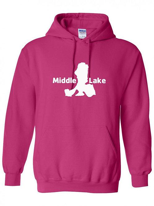 Middle Lake White Logo Hoodie