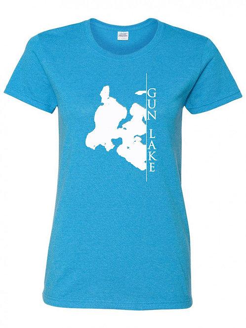 Gun Lake White Line Ladies T-Shirt